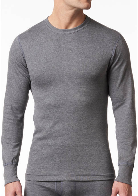 Mens 2 Layer Cotton Blend Thermal Long Sleeve Shirt
