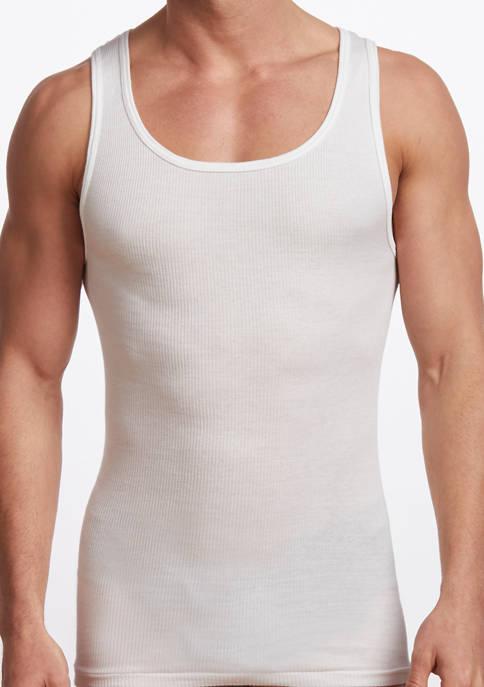 Mens Premium 100% Cotton Athletic Tank Undershirt - 2 Pack