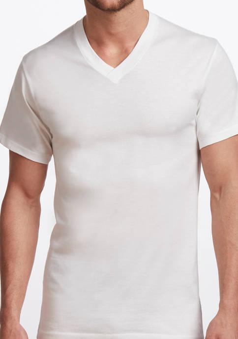 Mens Premium 100% Cotton V-Neck T-Shirt- 2 Pack