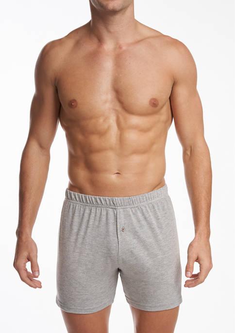 Mens Premium 100% Cotton Knit Boxers - 2 Pack