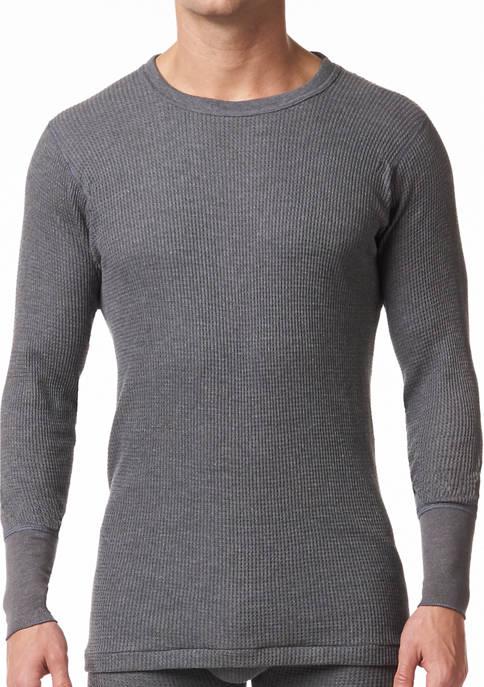 Mens Waffle Knit Thermal Long Sleeve Shirt