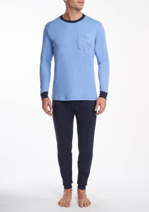 Mens 2 Piece Long Sleeve Polo Pajama Set