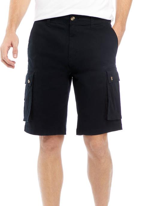 Solid Twill Cargo Shorts