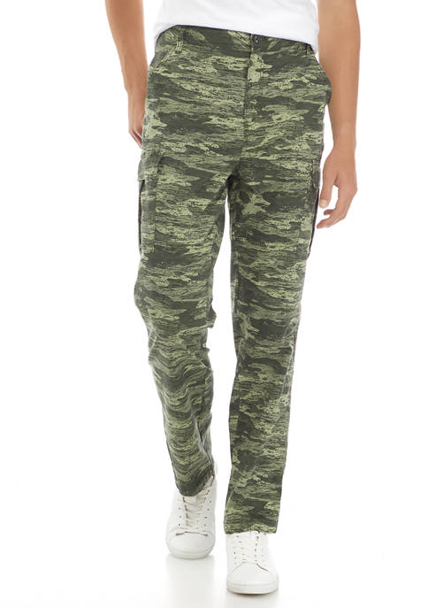Printed  Garment Dyed Cargo Pants
