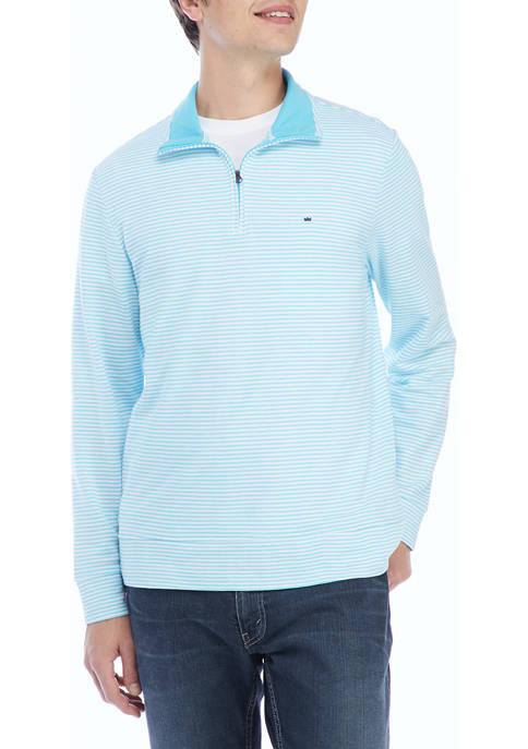 Crown & Ivy™ Stripe Piqué Quarter Zip Pullover