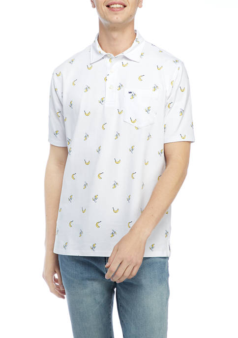 Crown & Ivy™ Short Sleeve Jersey Printed Polo