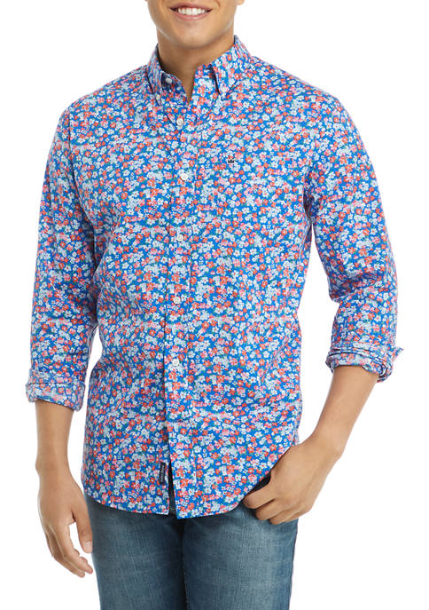 Crown & Ivy™ Long Sleeve Ditsy Floral Button