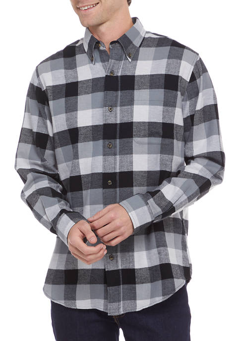 Long Sleeve Flannel Plaid Button Up Shirt
