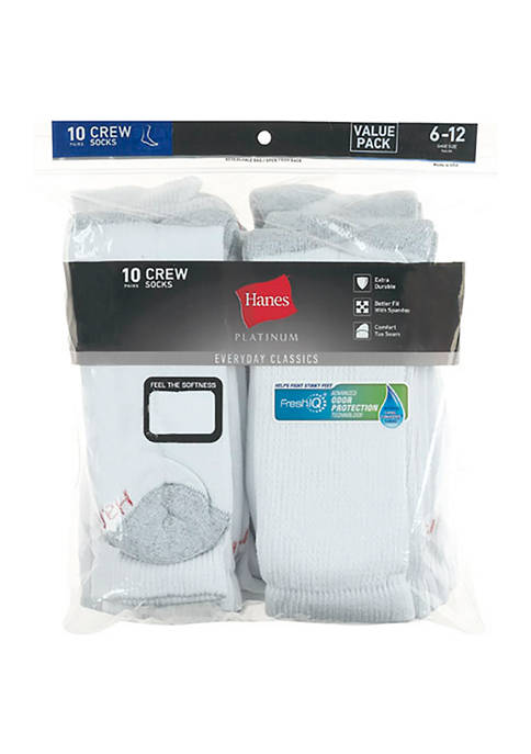Hanes® Platinum 10 Pack Crew Socks