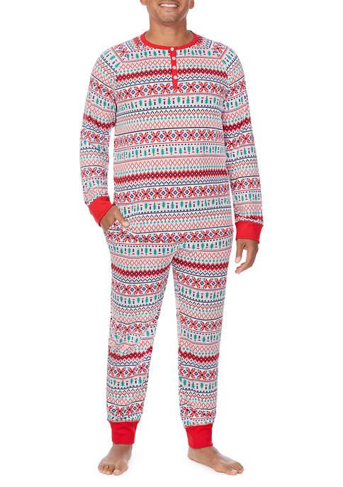 PAJAMARAMA Mens Fairisle 2-Piece Pajama Set