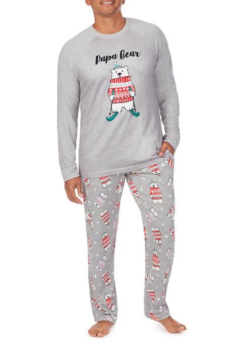 Skier Bear Mens 2 Piece Pajama Set