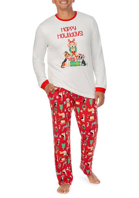 Mens Puppy Love 2-Piece Pajama Set