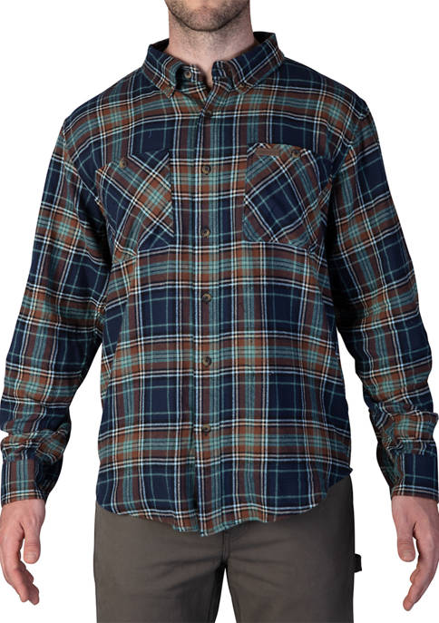 Mens Full Swing Cotton Flannel Button Down Shirt
