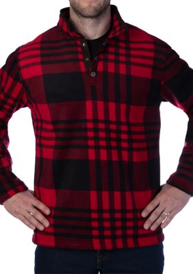 Smiths Workwear Mens Butter Sherpa Lined Plaid Microfleece Henley Pullover