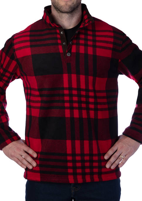 Mens Butter Sherpa Lined Plaid Microfleece Henley Pullover