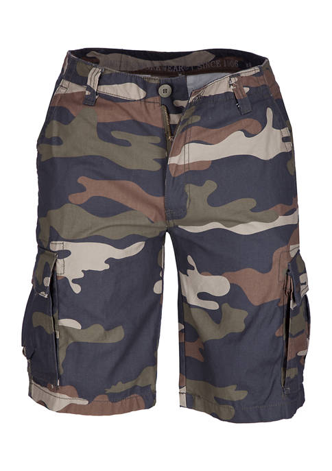 Mens Belted Soft Twill Camouflage Cargo Shorts