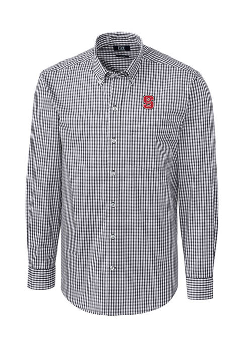Big & Tall NCAA NC State Wolfpack Long Sleeve Stretch Gingham Button Down