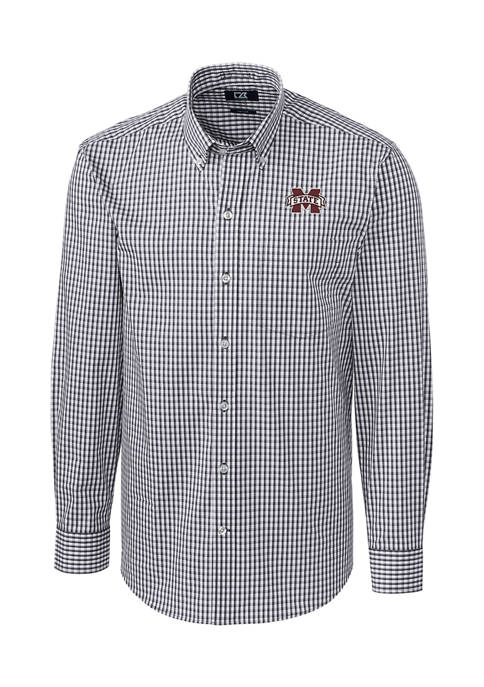 Big & Tall NCAA Mississippi State Bulldogs Long Sleeve Stretch Gingham Button Down