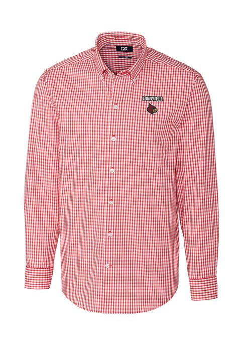 Big & Tall NCAA Louisville Cardinals Long Sleeve Stretch Gingham Shirt