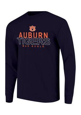 Image One Mens Ncaa Auburn Tigers Overtype Logo Long Sleeve T-Shirt