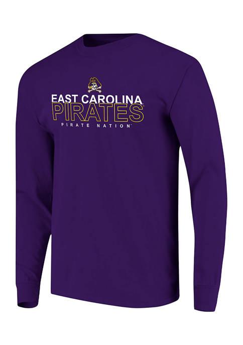 NCAA East Carolina Pirates Overtype Logo Long Sleeve T-Shirt