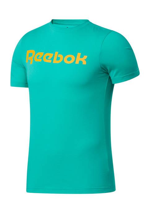 Reebok Mens Graphic Series Linear Logo Graphic T-Shirt