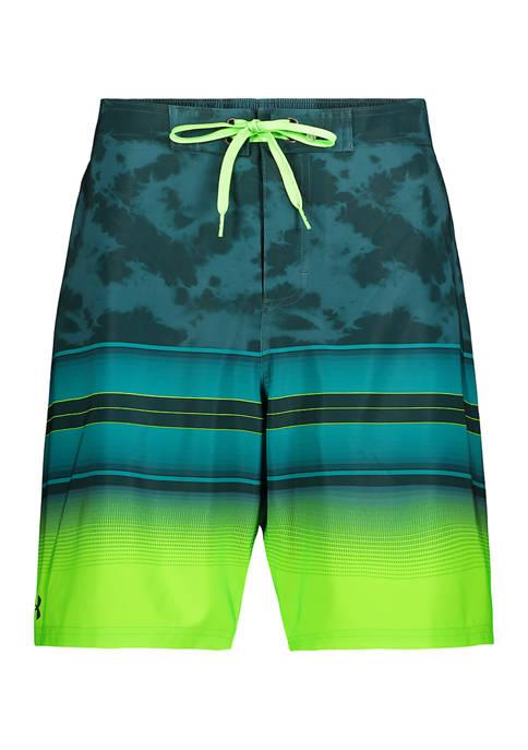 Tie Dye Gradient Stripe Board Shorts