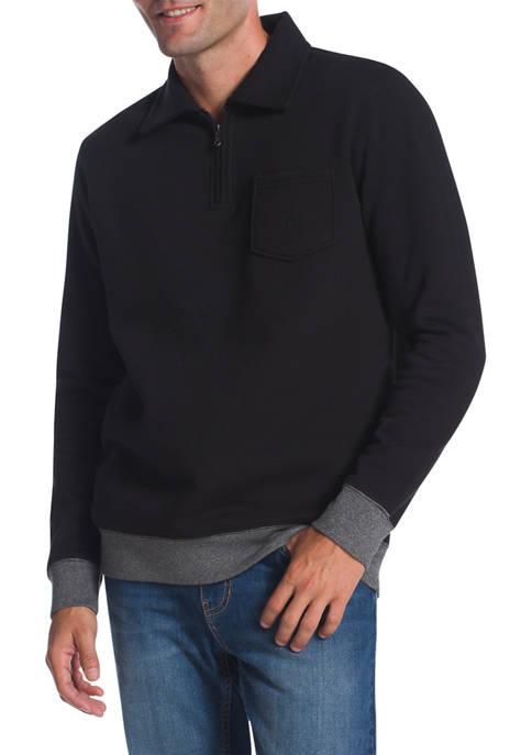 Chaps Long Sleeve Iconic Quarter Zip Fleece Pullover