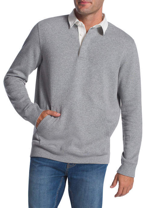Chaps Home Studio Classic Rugby Fleece Pullover