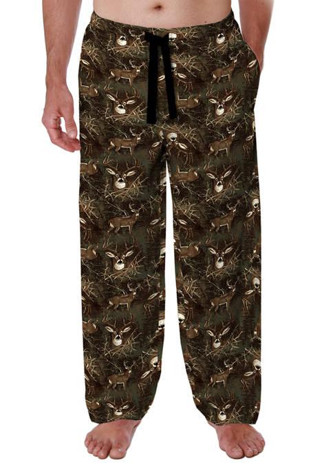 Mens Brown Deer Flannel Pajama Pants