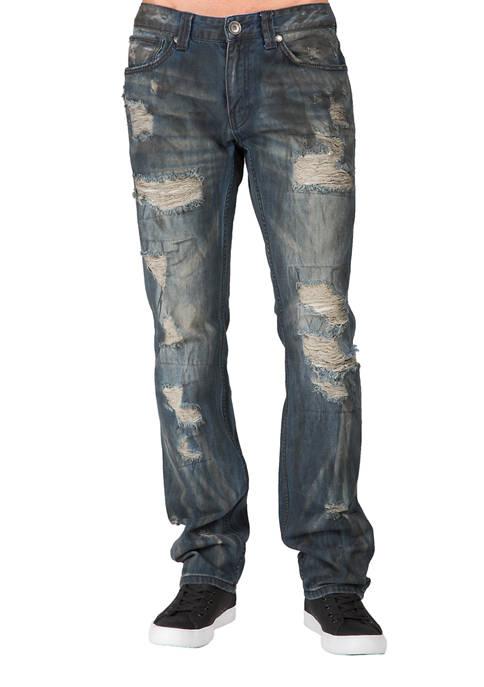 LEVEL7 Slim Straight Premium Paint Brushed Denim Jeans