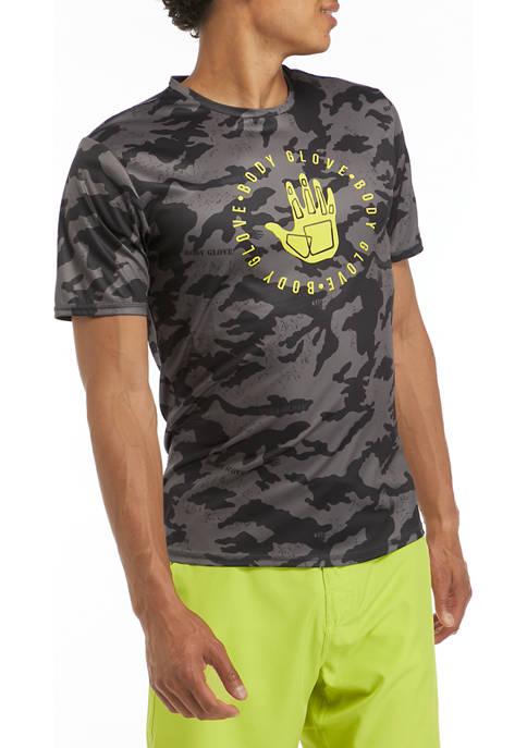 Short Sleeve Logo Camo Swim T-Shirt