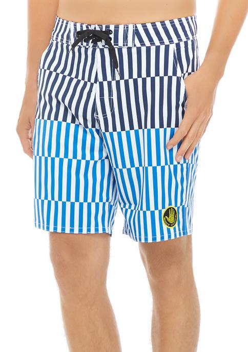 Striped Checker Board Shorts