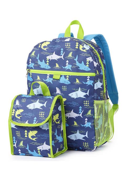 Shark Backpack and Lunch Bag Set