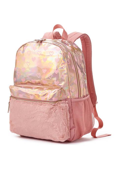 Rose Gold Hologram Heart Fur Backpack