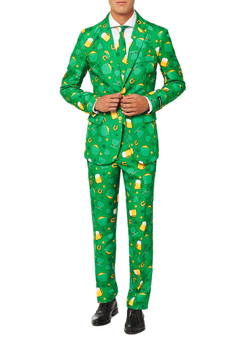 St. Patricks Day Icons Green Clover Suit