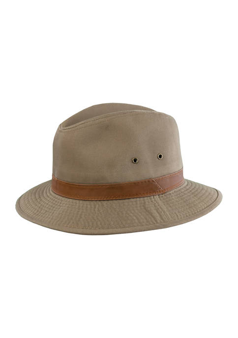 Twill Safari Hat with Leather Band