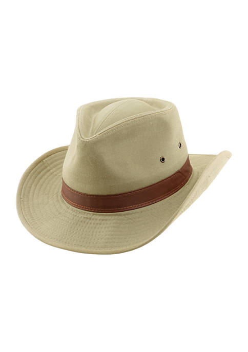 Twill Outback Hat with Leather Trim