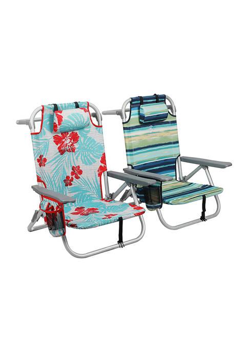 Alphacamp 5-Position Folding Lightweight Beach Chairs Support 250