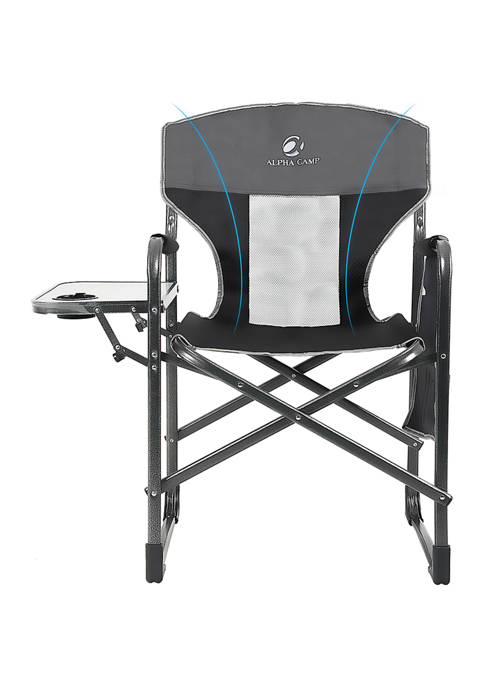 Folding Oversized Recliner Director Chair with Side Table
