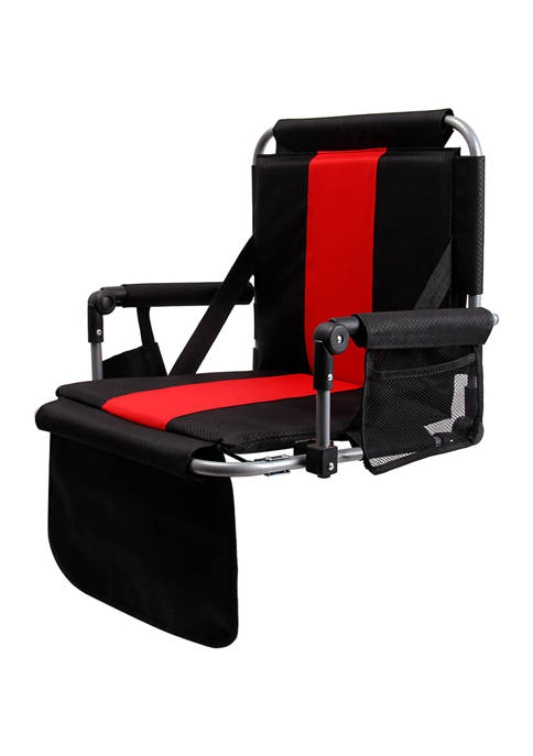 Padded Stadium Bleacher Chair with Armrest and Back