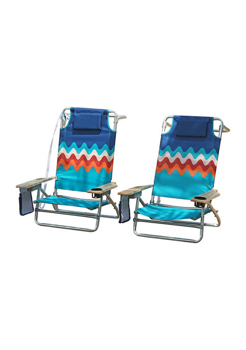 Folding Oversized Heavy Duty Beach Chair - 2 Pack