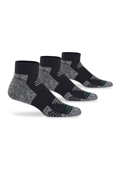 Burlington Mens Active 3 Pack Quarter Top Socks