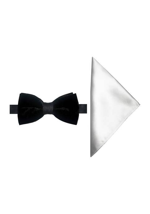 Velvet Bow Tie and Pocket Square Set