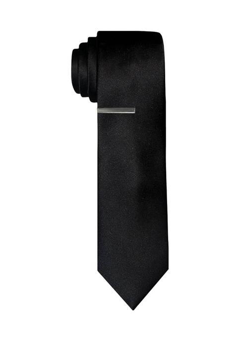 Solid Satin Tie with Tie Bar