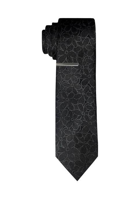 Floral Tonal Tie with Tie Bar