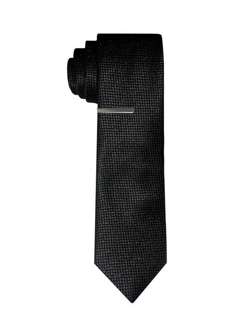 Solid Sparkle Tie with Tie Bar
