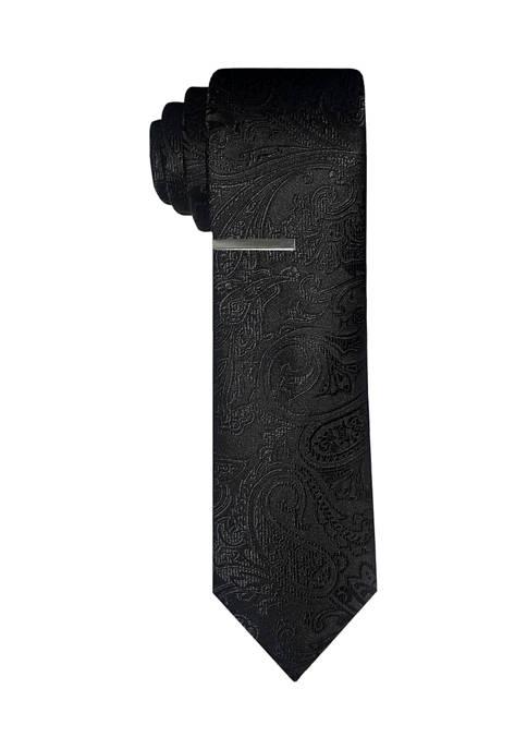 Tonal Satin Paisley Tie with Tie Bar