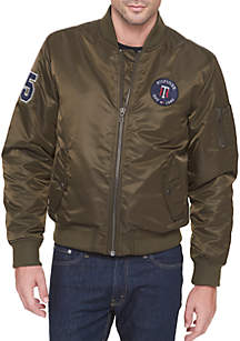 Flight Satin Varsity Patch Bomber Jacket