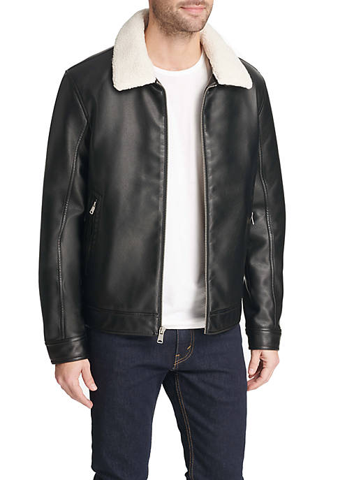 Classic Faux Leather Jacket with Removable Sherpa Collar